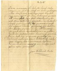 Briefje verstuurd door Jan Folkert Nauta  op 12-09-1945 vanuit het kamp Tjimahi 6  aan Egberdina Nauta - de Vries in kamp Tjideng.