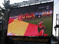 Die Spanier ... eine Wand ganz für uns.