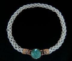 Aquamarin, geflochtene Perlenkette
