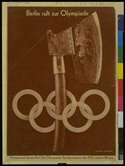 Photomontage en lien avec les jeux olympiques présidés par Adolfe Hitler en 1936.