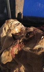 Détail de la momie copte.