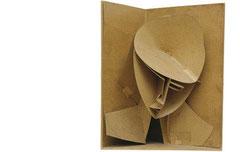 Naum Gabo, Modèle pour la construstion d'une tête n°3,  carton, 61x48.5x34,5 cm1917.