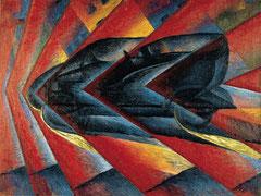 Peinture futuriste de Luigi Russolo.  Automobile in corso (ou Dynamisme d'une automobile), huile sur toile, 106 x 140, 1912-1913.
