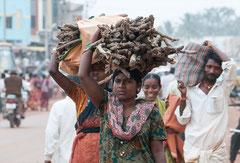 Badami, Inderinen mit Brennholz, Indien, India