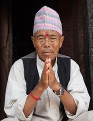 Namaste, Mann im Pashupatinath Tempel