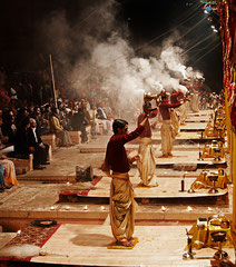 Indien, India, Varanasi,  Aarti-Zeremomie, Ganges, Benares