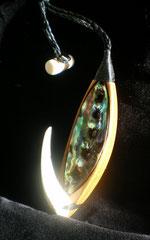 #1 Fish Hook / Paua Sell + Antler + Rimu