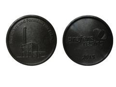 Jubiläumsmedaille, auf historischer hydraulischer Fusshebelpresse aus Bakelit Formmasse hergestellt - Durchmesser 4.8 cm