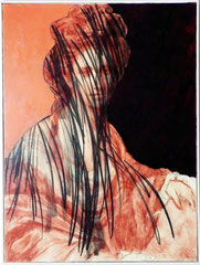 Dittico dal ritratto di Angelica Kauffman dipinto da  Joshua Reynolds. Sanguigna, carboncino e acrilico su tela. 90x120 cm. (x2) 2007 Roma, collezione privata