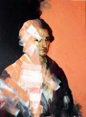 Dittico W. Goethe/A. Kauffmann. Acrilico e pastello su tela,110x150 cm. Collezione privata, Roma