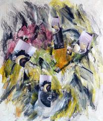 Natura morta con fruttiera  Acrilico e media dig. su tela. 130x150 cm. 1996
