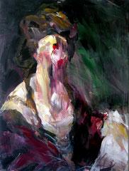 Dittico dal ritratto di Angelica Kauffman dipinto da  Joshua Reynolds.  Acrilico su tela. 90x120 cm. (x2) 2007 Roma, collezione privata