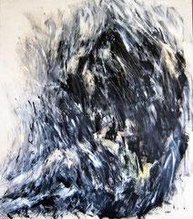 Schwimmer, sitzend. Acryl auf Leinwand, 140x170 cm.1990