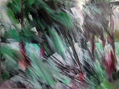 Weg im Schlosspark Charlottenburg.  Acryl, Pastell u.Kohle auf Leinwand, 160x120 cm. 2012
