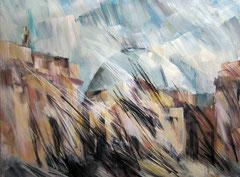 Die Hedwigskirche. Acryl, Pastell u.Kohle auf Leinwand, 160x120 cm. 2011