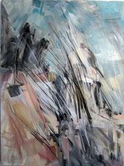 Franzoesischer Dom, Gendarmenmakt.  Acryl, Pastell u.Kohle auf Leinwand, 120x160 cm. 2010