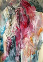 Collezione RTR Coira, Svizzera. Amor e Psiche, 140x200 cm. acrilico, carboncino e pastello su carta, 2007- Collezione della RTR, Radiotelevisione della Svizzera Romancia, Coira