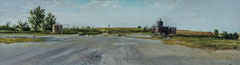 "Crude Oil holding Tanks Near Konza Prairie by Russell Horton, Oil on paper, 12 3⁄4""x30 3⁄4"", $1200"