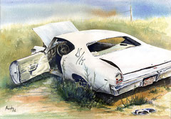White Car   24 X 30  watercolor  by Tony Armendariz   $700