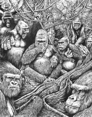 "Plea Of The Primate - Graphite - 22"" x 28"" Original Art $2000.00 *Prints available (limited to 250 prints 13"" x 19"" - $25.00"