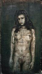 "Standing Nude plaster on Burlap Stephen Maffin 23""x41"" $2800"