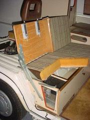 Sitzbank im Detail eines Westfalia Joker