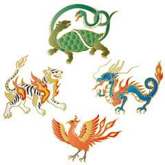 和風イラスト 『四神』競技大会のゲート装飾用イラスト
