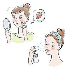 筆タッチイラスト 化粧品 女性のイラスト