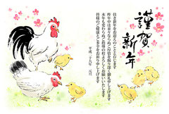 酉年年賀状デザイン 親鳥とひよこのイラスト