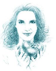 イギリスの料理研究家ナイジェラ・ローソンを描いたデッサン画 イラスト