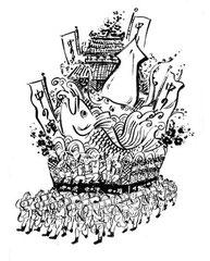 和風イラスト イカと鯛を乗せた山笠のイラスト。 旬魚・旬菜「中の濱」様の広告に使用されました。
