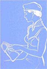 筆タッチイラスト『イラストレーション・アール[a:r]』掲載作品 ファッションイラスト 横顔の女性