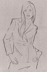 ファッションイラスト 筆タッチイラスト スタイリッシュ 女性