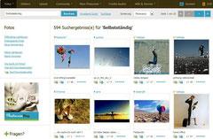 Screenshot: photocase, Thema Selbstständig