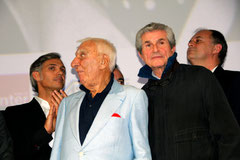 Paul Belmondo, Charles Gérard, Claude Lelouch et Christian Carrion - Festival Lumière - Lyon - Oct 2013 - Photo © Anik COUBLE