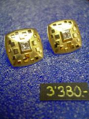 Bild:Ohrschmuck,Ohrstecker,Gelbgold750,18kt,Diamanten,carré-prinzess,Schliff,Handarbeit