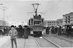 Пуск первого трамвая в Набережных Челнах. 8 октября 1973 года.