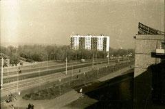 Трамвайные пути в посёлке ГЭС. 1970-е годы.