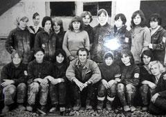 Молодые строители после училища из Башкирии (г. Стерлитамак) ГПТУ- 25 гр. 15 на стройке трамвайного депо Набережных Челнов 1973 г.