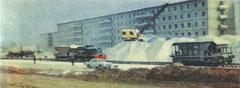 Строительство трамвайных путей на проспекте Мусы Джалиля. 1972 год