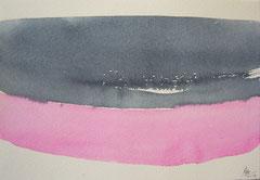 'Plage Normandie' 3, aquqrel op papier, 12.5x17.5 cm