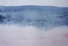 'Plage Normandie' 1, aquqrel op papier, 12.5x17.5 cm