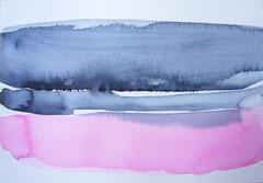 'Plage Normandie' 2, aquqrel op papier, 12.5x17.5 cm