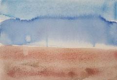 'Plage Normandie' 5, aquqrel op papier, 12.5x17.5 cm