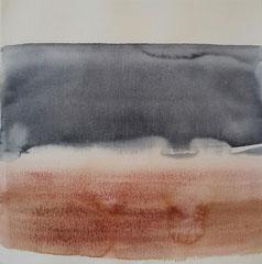 'Plage Normandie' 6, aquqrel op papier, 30x30 cm