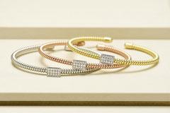 K18ダイヤブレスレット  左.ホワイトゴールド(0.230ct) ¥594,000  中.ピンクゴールド(0.230ct) ¥484,000  右.イエローゴールド(0.230ct) ¥484,000