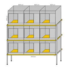 Kaninchenpark Nr. 5, aufzustellen in drei Etagen mit Ständern
