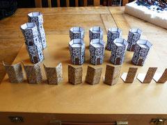 Bergfriede (2), Türme(8), Mauerteile (3x3, 3x2, 3x1)