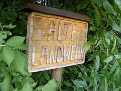 """Hinweisschild zum Verlauf der """"Alten Landwehr"""""""