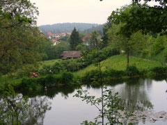 Blick von der Weschnitzquelle zum Ort